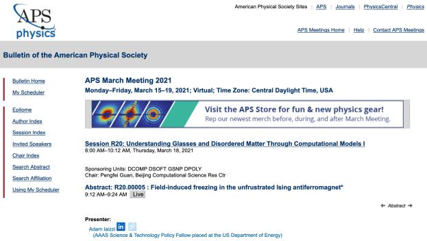 screenshot of Bulletin of APS March Meeting